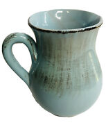 """Light Blue Glaze Farmhouse Rustic Pitcher Made In Italy Home Decor Vase 7"""" Tall"""