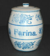 Blue And White Stenciled Wildflower Farina Canister Brush Mccoy Ohio Stoneware