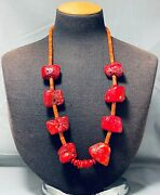 Rare Signed Colossal Coral Vintage Navajo Sterling Silver Necklace