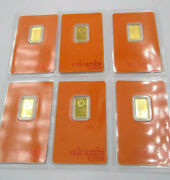 Lot Of 6 Gold Bars   2.5 Grams/each   24k Valcambi Suisse .999