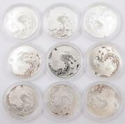 9x Canada 10 Dollars 2012 1/2 Ounce 99.99 Fine Silver Year Of The Dragon