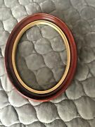Vintage Antique Wood Oval Deep Well Picture Frame No Glass 9x7