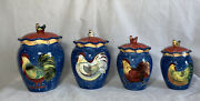 Set Of 4 Cookie Canister Jar Le Rooster By Susan Winget Certified International