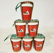 Lot Of 6 Starbucks Coffee 2016 Virginia Red And Green Ceramic Christmas Ornaments