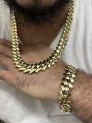 14k Miami Cuban Link Chain And Bracelet Set Stainless Steel Gold Finish