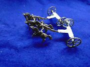Miniature Sterling Silver Horse's And Cart's, 1950, Italy, Battling