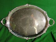 Silver Plated Antique Tray Large Size Victorian Shell And Gadroon Circa 1860