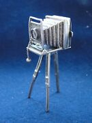 Miniature Old Fashioned Camera Sterling Silver Marked Italian, Nice Item 1940