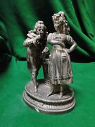 Silver Plated Figure Of A Victorian Couple With Basket 1860 Antique French