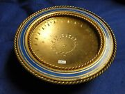 Large Cake Serving Dish Silver Plated And Gilt 1860 French Blue Enamel Rope Work