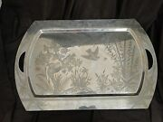 Chinoiserie Tray, Silver Plated Elkington 1880, Chinese Style And Shape Antique