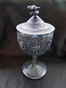 Cup And Cover Sterling Silver India Chased Engraved Antique Rare Religious