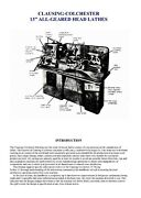 """Clausing-colchester 13"""" All-geared Head Lathes Instruction Manual"""