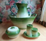 Antique 4 Piece George Jones And Sons Crescent England Large Wash Basin And Pitcher