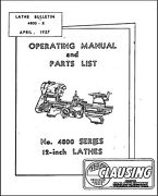 Clausing 4800 Series 12 Lathes Operator Instruction And Parts Manual - 48 Pages