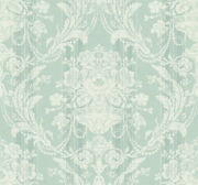 Grand Damask With Stripe Wallpaper In Sea Green Am90804 From Wallquest