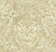 Antique Damask Wallpaper In Gilded Dv50506 From Wallquest