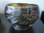 Large Fruitbasket Footed Chased Sterling Silver 800 Made In Italy Circa 1960