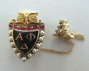 Usa Fraternity Pin Alpha Phi Delta. Made In Gold. 1931. Named. Marked. 1501