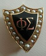 Usa Fraternity Pin Phi Sigma. Made In Gold. Named. Marked. Alpha. 1292