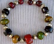 Antique Moroccan Amber/bakelite And Mughal Gilt Silver Beads Of The 17th/18th Cent