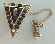 Usa Fraternity Pin Alpha Phi Pi. Made In Gold 14k. Rubies. Marked.1104