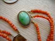 Antique 3 Strands Chinese Natural Coral Necklace With Gorgeous Jadeite Catch