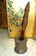 Museum Quality Antiq Middle Eastern Woodden Coffee Mortar And Pestle Early 19th C.