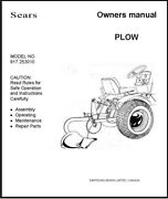 Sears Moldboard Plow 917253010 Operator Instruction And Parts Manual