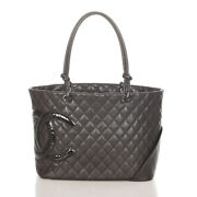 Cambon Coco Mark Brown Lambskin Tote Bag Women 's Secondhand _31448