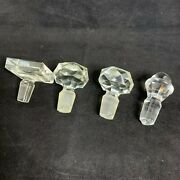 Lot Of 4 Vintage Medium Crystal Perfume Decanter Stoppers Chips Sg938