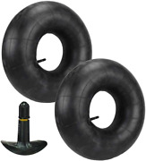 Two Black Rubber Lawn Mower Tractor Tire Inner Tubes Inflatable Valve System