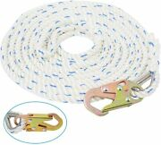 25ft 5/8 Inch Fall Protection Vertical Lifeline Rope With Back Splice Snap Hook