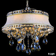 Vintage 8-light Ceiling Chandelier Round Fabric Lamp Shade Beige Living Room
