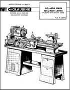 Clausing 6300 Series 12 3/4 Inch Lathes Instruction Parts Manual