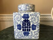 Vintage Chinese Blue And White Floral Double Happiness Square Ginger Jar