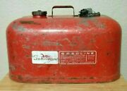 Vintage Johnson Outboard 6 Gallon Metal Boat Gas Tank Fuel Can Red