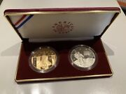 1988 -p America In Space Us Mint Silver And Bronze Two Coin Proof Set W/coa