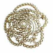 Pearl Brooch Metal Costume Strass Jewellery Secondhand _35597