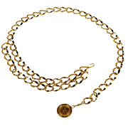 Coco Mark Chain Belt Coin Cc Series Pg Gold Women And039s Secondhand _36224