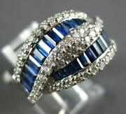 Large 2.61ct Diamond And Aaa Sapphire 18k White Gold 3d Round And Baguette Love Ring