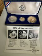 1988 America In Space Unc 3 Coin Gold Silver And Bronze Medal Set W/ Box And Coa