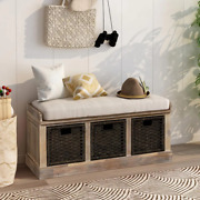 Entryway Storage Bench 3-removable Classic Fabric Basket And Removable Cushion