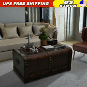 Wooden Treasure Chest Large Storage Box Coffee Table Brown Trunk Furniture