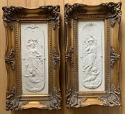 19th Century Pair Of Carrara Marble Nymphs And Cherubs Plaques By William Wyon.