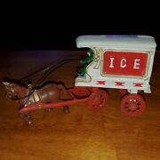 Vintage Cast Iron Toy Ice Wagon With Horse And Driver Champion Brand Ships Fast