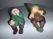 Gnomy's Diaries By Annekabouke - Set Of Two Gnomy Shelf Sitters