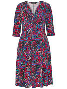 Scarlett And Jo Ladies Dress Plus Size 22 24 28 30 32 Paisley Knot Front Occasion