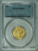1857 Pcgs Ms61 Liberty 5 Gold Half Eagle, Decent Coin For The Grade Level
