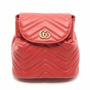 Gg Marmont Mini Backpack Razor Red Quilting 528129 Secondhand _39436